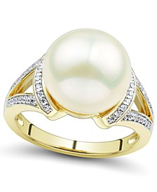 Cultured Ming Pearl (12mm) & Diamond (1/6 ct. t.w.) Statement Ring in 14k Gold