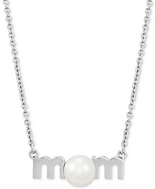"""Cultured Freshwater Pearl (7mm) Mom 18"""" Pendant Necklace in Sterling Silver"""