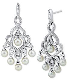 Cultured Freshwater Pearl (4-4-1/2mm) & Swarovski Zirconia Chandelier Drop Earrings in Sterling Silver