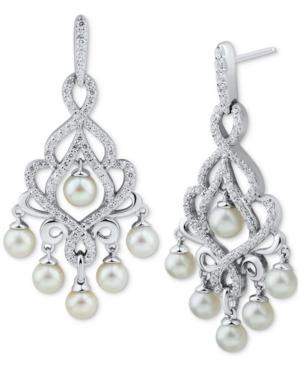 Cultured Freshwater Pearl (4-4-1/2mm) & Cubic Zirconia Chandelier Drop Earrings in Sterling Silver