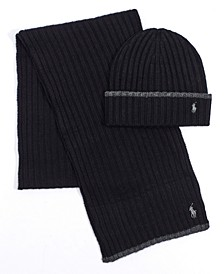 Men's Classic Ribbed Hat and Scarf Set