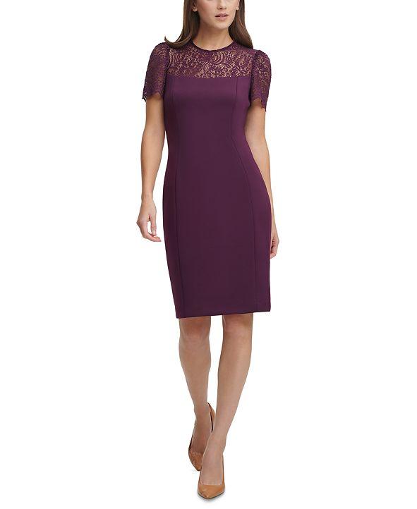 Calvin Klein Lace-Yoke Sheath Dress