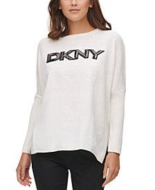 DKNY Drop-Shoulder Sequin Logo Sweater