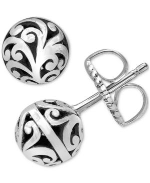 Scrollwork Ball Stud Earrings in Sterling Silver