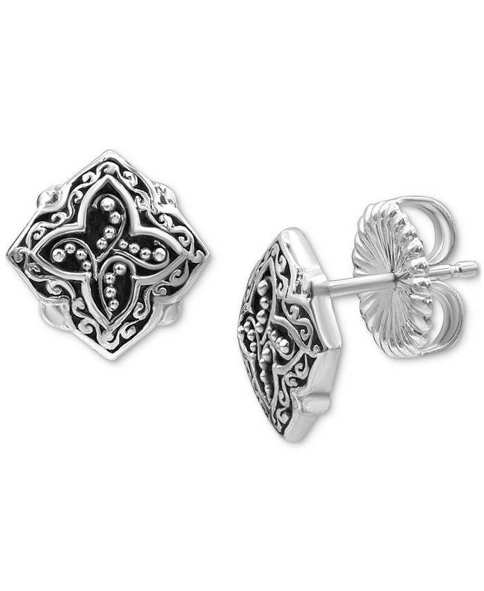 Lois Hill - Scroll Work & Filigree Decorative Stud Earrings in Sterling Silver
