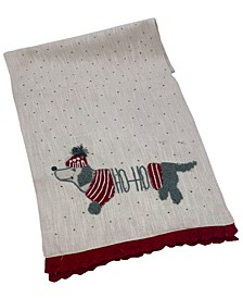 "Christmas Dog Textured Linen, 16"" X 72"""