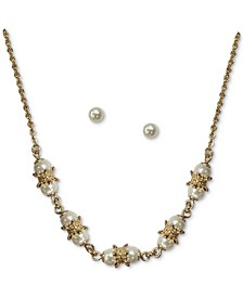 Gold-Tone Imitation Pearl Collar Necklace & Stud Earrings Set, Created for Macy's