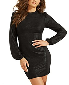 Metallic Lace-Up-Back Mini Dress