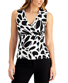 Kasper Printed Faux-Wrap Top
