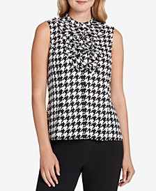 Houndstooth-Print Ruffled Blouse
