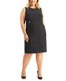 Kasper Plus Size Printed Tab-Detail Dress