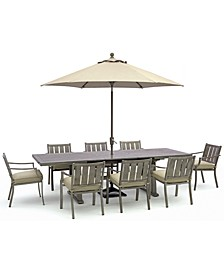 """Wayland Outdoor Aluminum 9-Pc. Dining Set 87"""" x 40"""" (extends to 110"""") Extension Dining Table & 8 Dining Chairs with Sunbrella® Cushions, Created for Macy's"""