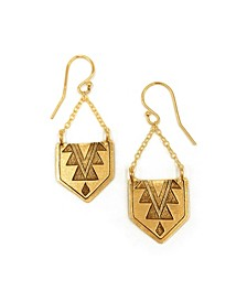 Women's 14K Gold Plated Hanging Mayan Pendant Earrings