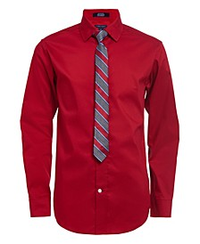 Big Boys Poplin 2 Piece Shirt and Tie Set