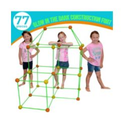 Funphix Fort Building Kit with Glow in The Dark Sticks, 77 Pieces