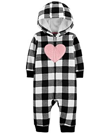 Carters Baby Girl Heart Zip-Up Fleece Jumpsuit