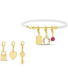 Gold-Tone Imitation Pearl Bracelet & Interchangeable Crystal Charm Set