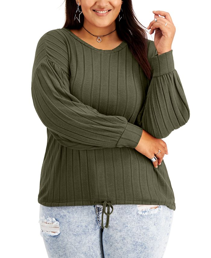 FULL CIRCLE TRENDS - Trendy Plus Size Drawcord Puff-Sleeve Top