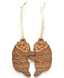Otters 2pc Wood Ornament