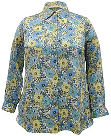 INC Plus Size Floral Button-Up Blouse, Created for Macy's