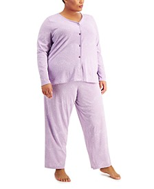 Plus Size Printed Cotton Pajama Set, Created for Macy's