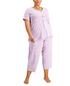 Plus Size Printed Cotton Cropped Pajama Pants Set, Created for Macy's