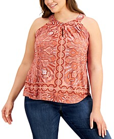 INC Plus Size Printed Twist-Keyhole Top, Created for Macy's