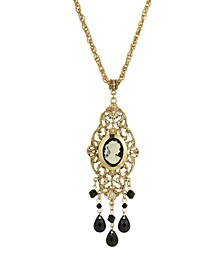 Women's Gold Tone Black Oval Cameo Locket Necklace