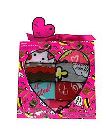 Women's Assorted Food Print Low Cut Sock Gift Box, 7 pack