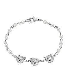 Women's Silver Tone Triple Cat Imitation Pearl Chain Bracelet