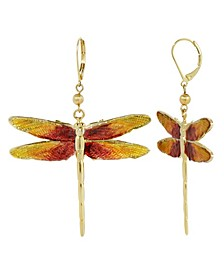 Women's Gold Tone Orange Enamel Dragonfly Earrings