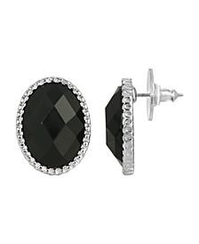 Women's Silver Tone Black Faceted Oval Button Earrings