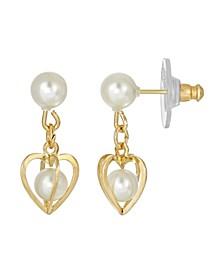 Women's 14K Gold Dipped Pear Heart Drop Earrings