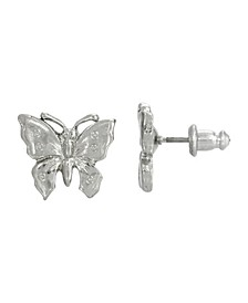 Women's Silver Tone Petite Butterfly Post Earrings