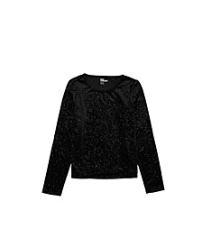 Big Girls Long Sleeve Velvet Party Top Shirt
