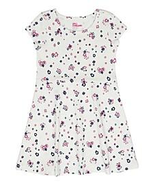 Little Girls Short Sleeve Floral Print Basic Dress