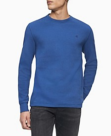 Men's Monogram Logo Waffle-Knit Long Sleeve Tee