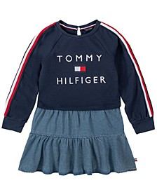 Toddler Girl Two-Fer Sweatshirt Dress with Embroidery