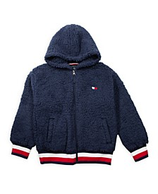 Big Girl Fuzzy Zip Up Hoodie with Heart Flag Patch