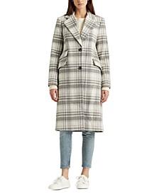 Plaid Wool-Blend Coat