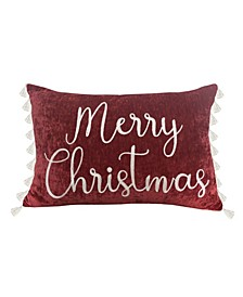 """Mel Merry Christmas Lace Embroidered Chenille Side Tassel Pillow, 24"""" x 16"""""""