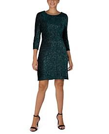 3/4-Sleeve Shiny Textured Velvet Sheath Dress