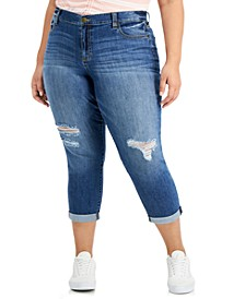 Trendy Plus Size Destructed Girlfriend Jeans