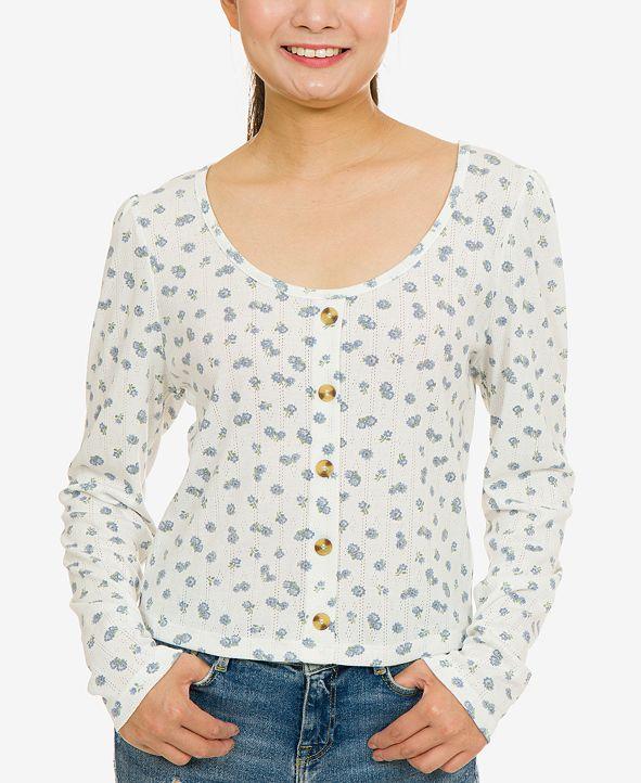 Hippie Rose Juniors' Pointelle-Knit Button-Trimmed Floral Top