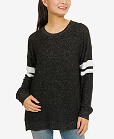 Juniors' Cozy Marled Striped-Sleeve Tunic Top