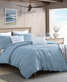 Lush Moselle Cotton Ruched Waffle Weave 2 Piece Duvet Cover Set, Twin XL