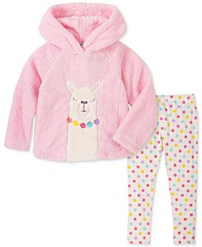 Baby Girls 2-Pc. Fleece Llama Hoodie & Dot-Print Leggings Set