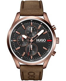 Men's #CHASE Brown Leather Strap Watch 46mm