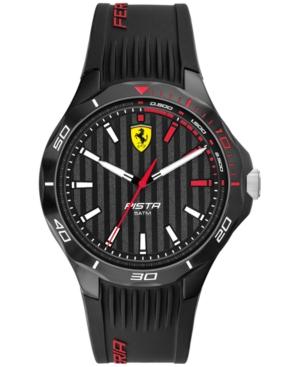 Men's Pista Black Silicone Strap Watch 44mm