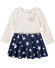 Little Girls White & Blue Dress